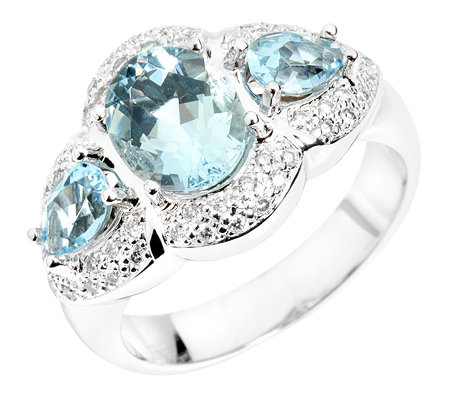 Aquamarin 1,90ct. Krappenfassung 52 Brillanten 0,25ct. Cocktail-Ring Weißgold 585