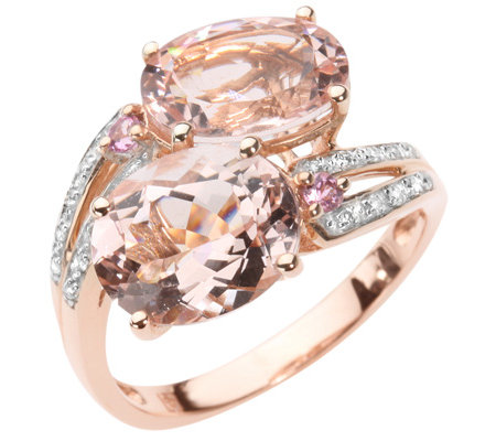 Morganit 3,70ct. 2 Turmaline 0,05ct. 20 Brillanten 0,08ct. Croisé-Ring Roségold 750