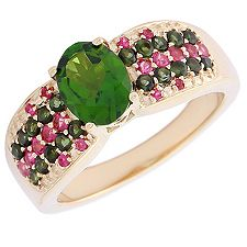 Russischer Chromdiopsid 1,28ct Ring Gold 375