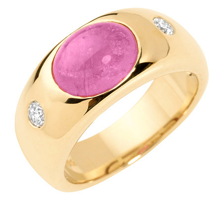 Rubellit 2,25ct. Oval Cabochon 2 Brillanten 0,20ct. Ring Gold 585