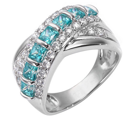 DIAMONIQUE® CARIBBEAN BLUE 35 Steine = 1,68ct. Cocktail-Ring Silber 925,rhodiniert