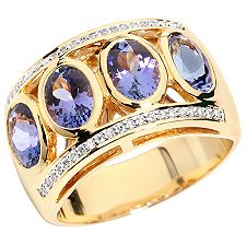 1st Class Tansanit AAA/3,00ct 42 Brill.0,15ct Ring Gold 750