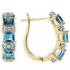 ITINGA Topas Londonblue 1,74ct. Diamanten 0,06ct. Creolen Gold 375