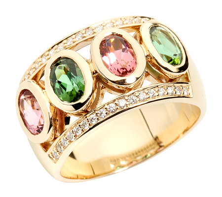 Turmaline 1,40ct Ovalschliff 34 Brill.0,17ct Ring Gold 585