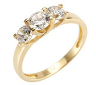 DIAMONIQUE® GOLD 375 Trilogiering = 1,06ct Brillantschliff