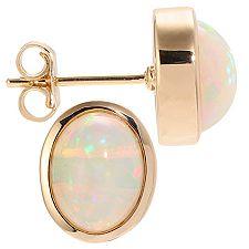 Afrikanischer Opal 2,00ct oval 9x7mm Ohrstecker Gold 585