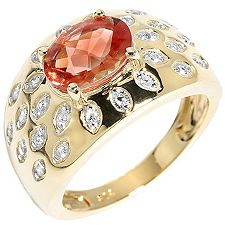 Tibetanit 1,45ct oranger Andesin Diamanten 0,11ct Cocktail-Ring Gold 375