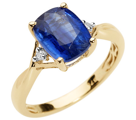 Kyanit aus Nepal Kissenschliff 1,77ct. 2 Brillanten 0,03ct. Ring Gold 375