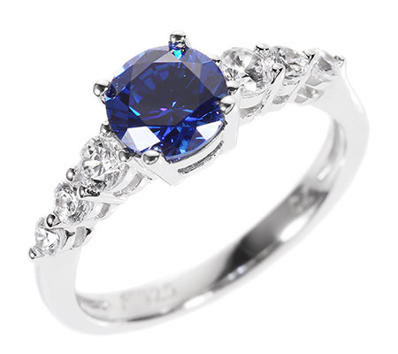 DIAMONIQUE® ROYAL BLUE 7 Steine =1,48ct. Riviére-Ring Silber 925,rhodiniert