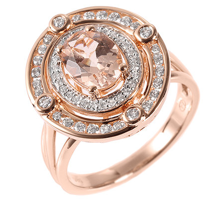 Morganit AAA/0,85ct 56 Brill.0,42ct Ring Roségold 585