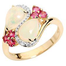 Afrikanischer Opal 1,10ct Edelsteine 0,37ct Ring Gold 585