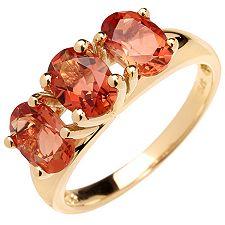 Tibetanit 1,90ct. oranger Andesin Krappenfassung Ring, 3 Steine Gold 375
