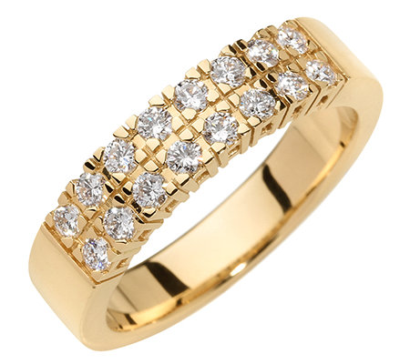 16 Brillanten zus.ca.0,50ct. hf.Weiß/lupenrein Ring Gold 750