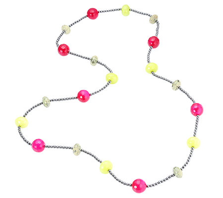 Fuchsia Achat Kugeln 14mm Serpentin & Quarz Hämatit Endlos-Collier