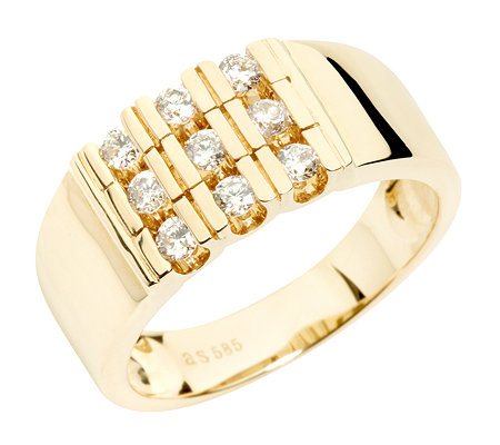 9 Brillanten zus.ca.0,50ct. get.Weiß/lupenrein Ring Gold 585
