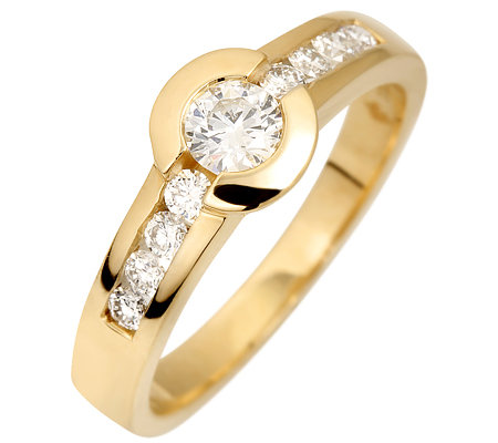 9 Brillanten zus.ca.0,55ct. get.Weiß/lupenrein Ring Gold 585
