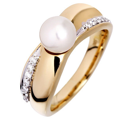 AKOYA Zuchtperle 7-7,5mm 10 Brillanten 0,10ct. Ring Gold 585