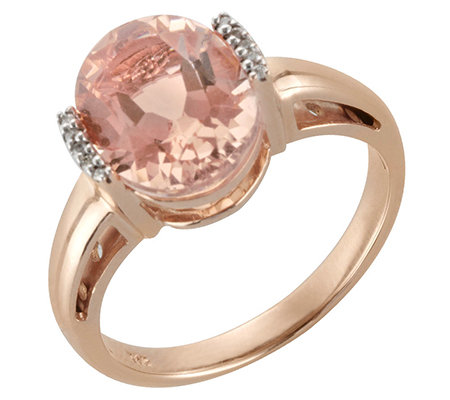 Morganit AAA/3,00ct 10 Brill.0,04ct Ring Roségold 585