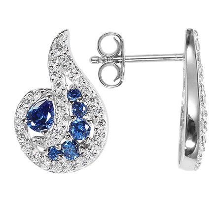 DIAMONIQUE® ROYAL BLUE 72 Steine =1,18ct. Ohrstecker Silber 925,rhodiniert