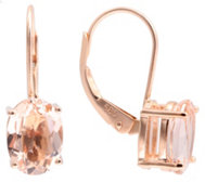 Morganit Ohrboutons AAA/2,25ct Ovalschliff Roségold 585