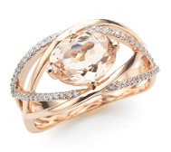Morganit Ring AAA / 1,60ct 55 Brillanten 0,15ct Roségold 585