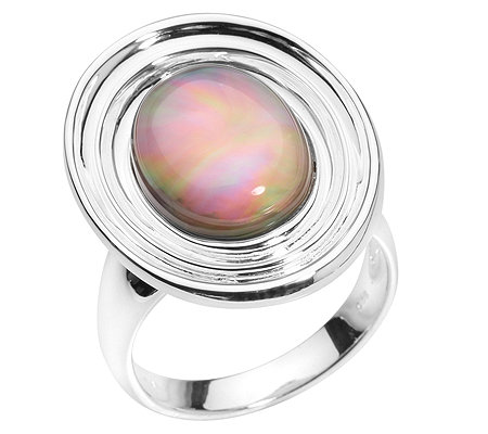 PAOLA VALENTINI Cocktail-Ring Perlmutt-Doublette poliert Silber 925
