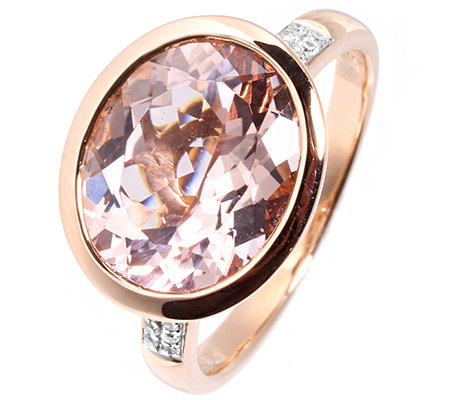 Morganit AAA/3,60ct 16 Brill.0,06ct Ring Roségold 585