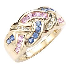 VIVA LAS VEGAS multicolor Saphir 1,08ct Flecht-Ring Gold 375
