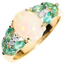 Afrikanischer Opal 1,20ct Smaragd 0,45ct Ring Gold 585