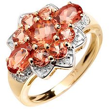 Tibetanit 1,91ct. oranger Andesin Diamanten 0,08ct. Ring Gold 375