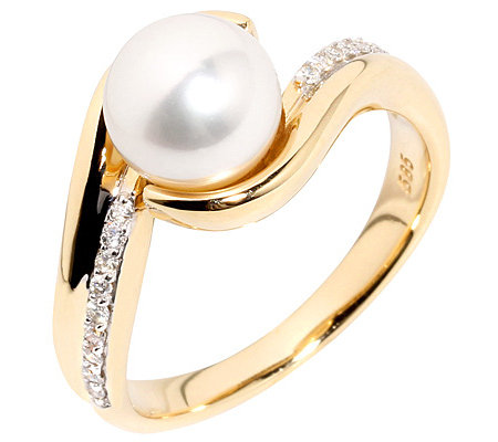 AKOYA Zuchtperle 8-8,5mm 16 Brillanten 0,15ct. Croisé-Ring Gold 585