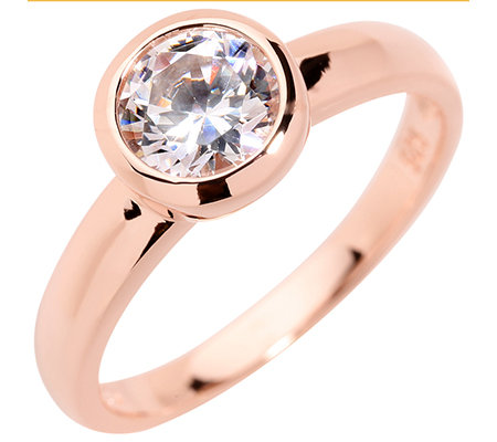 DIAMONIQUE® SOLITÄR = 1,00ct Ring Silber roséverg.