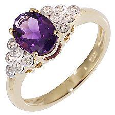 Uruguay Amethyst oval 1,10ct. Diamanten Ring Gold 375