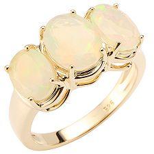Afrikanischer Opal 2,25ct. oval facettiert Trilogie-Ring Gold 585
