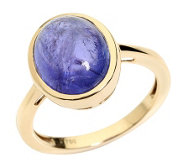 1st Class Tansanit Ring 6,10ct Cabochon Gold 750