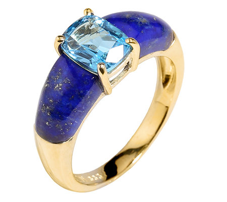 Golden Lapislazuli Blautopas 1,45ct. Schliffmix Ring Gold 333
