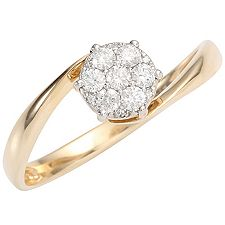 FIRST DIAMOND 13 Diamanten zus.ca.0,25ct. Ring Gold 375