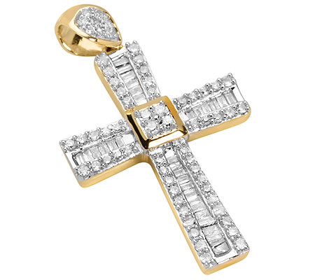 GLAMOUR DIAMONDS 94 Diamanten zus.ca.0,50ct. Kreuz-Anhänger Gold 585
