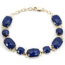 Golden Lapislazuli Kissenschliff Checkerboard Armband Gold 375