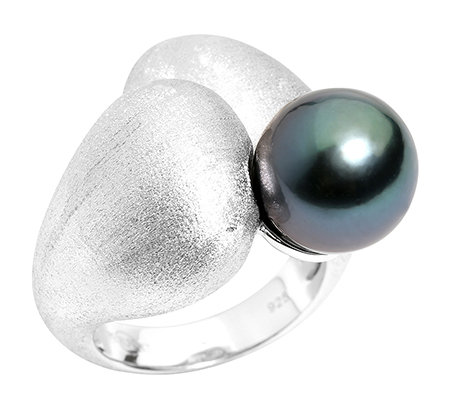 PERLFEKT Tahitiperle 11-11,9mm Cocktail-Ring Silber, mattiert