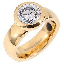 Edelstahl Ring mit Kristall 1 Turmalin / 1 FIR