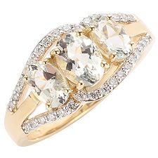 Cumaru Aquamarin oval 1,53ct 34 Brill. 0,17ct Ring Gold 585