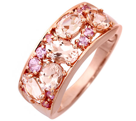 Morganit 1,59ct. Pink Saphir 0,26ct. Schliffmix Cocktail-Ring Roségold 585