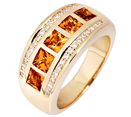 Mandarin Granat Princess 2,00ct. 30 Brillanten 0,25ct. Ring Gold 585