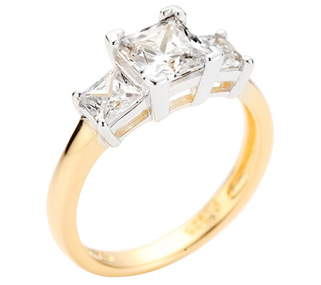 DIAMONIQUE® = 2,03ct Princessschliff Trilogie-Ring Silber bicolor