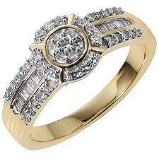 GLAMOUR DIAMONDS 55 Diamanten W/P1 zus.ca.0,33ct Ring Gold 375