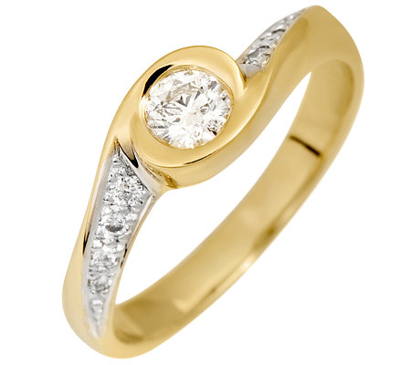 9 Brillanten zus.ca.0,35ct. Weiß/P1 Ring Gold 585