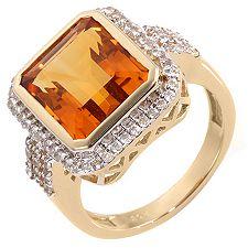 Madeira Citrin Smaragdschliff 6,55ct weisser Zircon 0,35ct Cocktail-Ring Gold 585