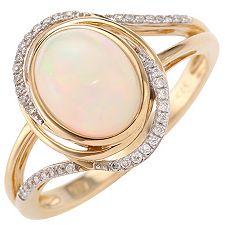 Afrikanischer Opal 1,30ct Brillanten 0,08ct Entourage-Ring Gold 585