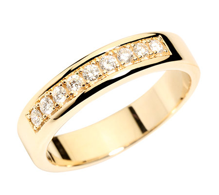9 Brillanten zus.ca.0,25ct. Weiß/SI Memoire-Ring Gold 585